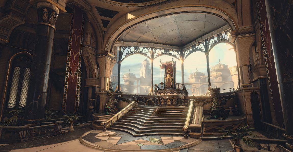 A beautiful throne room with steps leading up to it