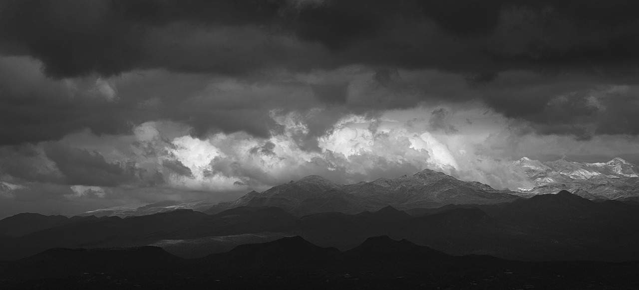 Dark mountains with dark clouds over them
