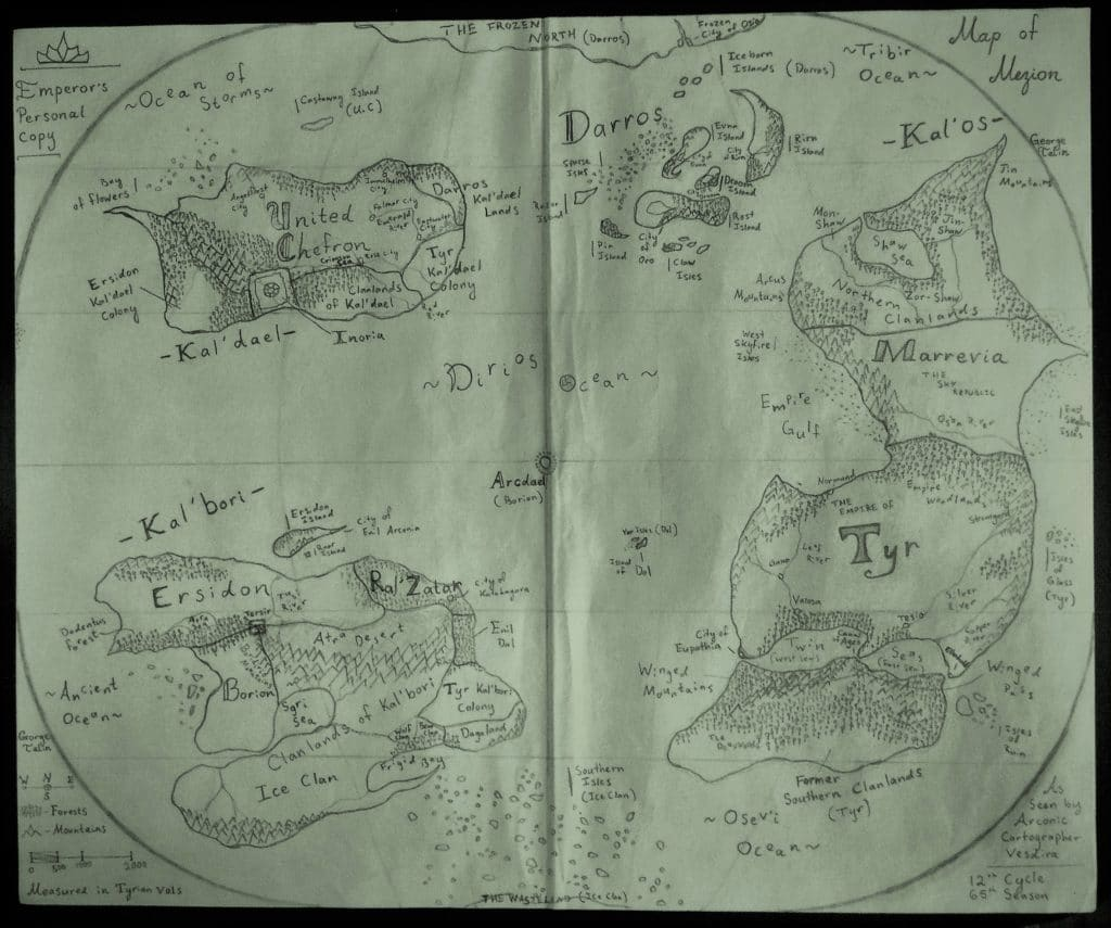 The world map of the fantasy world of Mezion, by George Talin